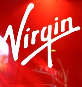Close-up of Virgin's logo taken on the f