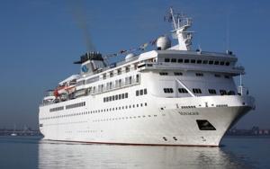 mv Voyager arrives in Portsmouth.