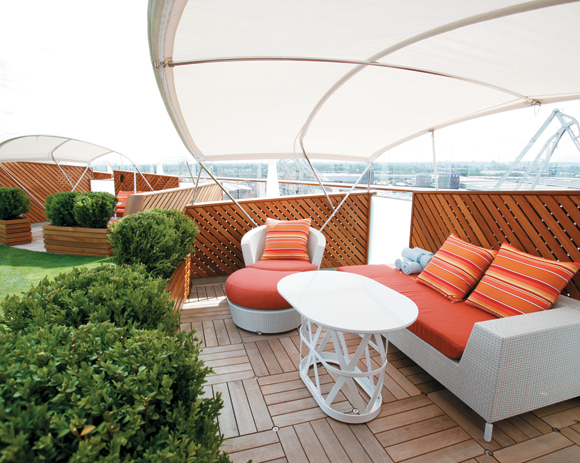 Celebrity Silhouette.  Interior feature photos. Lawn Club cabana