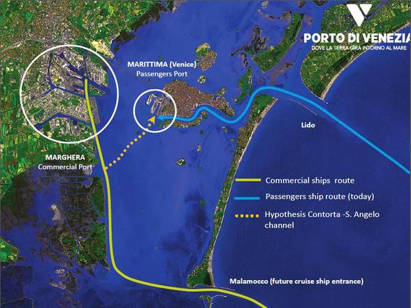 Cartina canale Contorta-Sant'angelo per grandi navi a Venezia